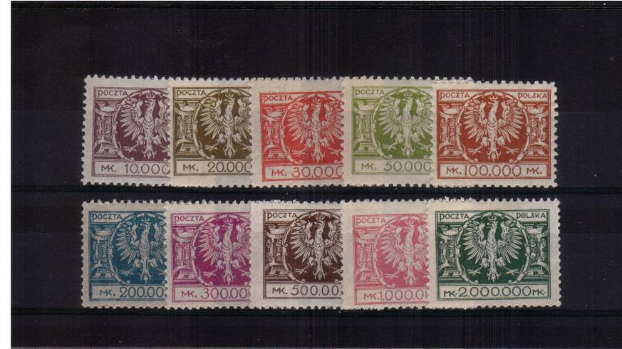 The complete definitive set of ten lightly mounted mint.<br/>SG Cat �.00