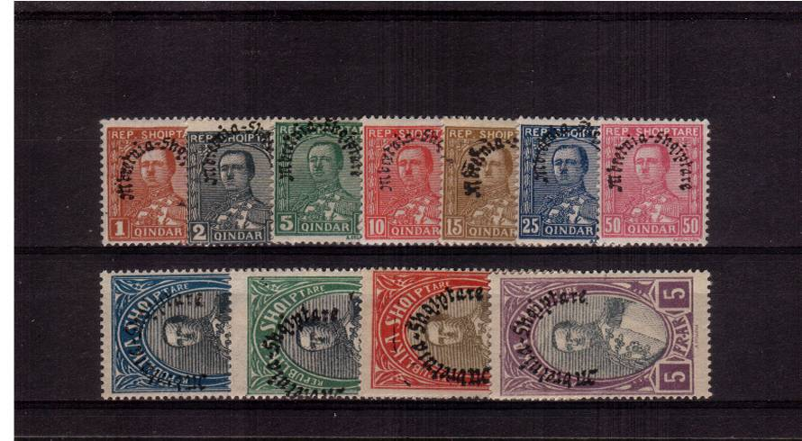 The ''Kingdom of Albania'' overprint<br/>Set of eleven mounted mint. SG Cat �.00