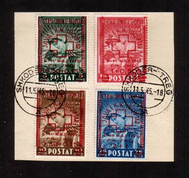 Red Cross Fund surcharged with Red Cross set of four superb fine used tied to a small piece. SG Cat �0