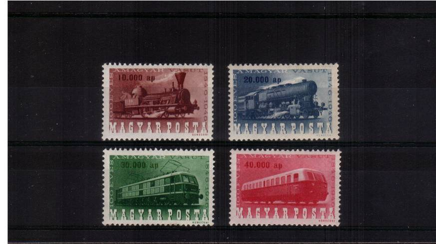 Centenary of Hungarian Railways<br/>Set of four superb unmounted mint.<br/>