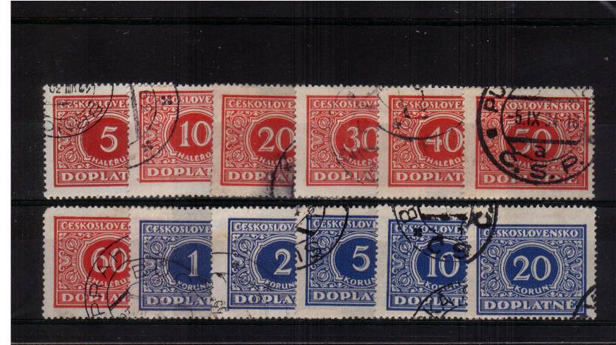 The POSTAGE DUE set of twelve fine used.