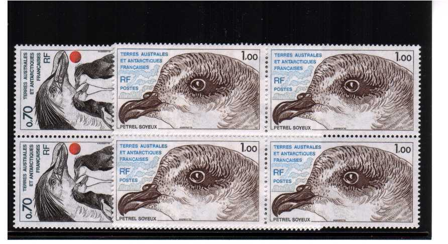Penguines and Petrel bird head set of two in superb unmounted mint blocks of four