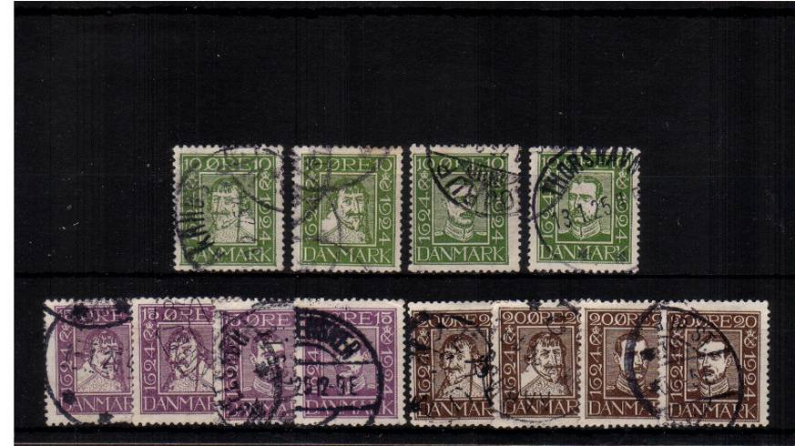 300th Anniversary of Danish Post<br/>A superb fine used set of twelve.