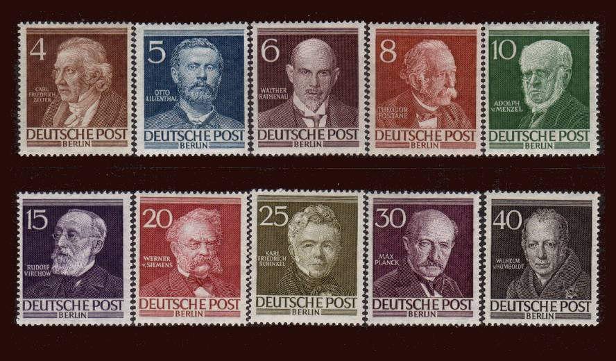 Famous Berliners<br/>A superb unmountd mint set of ten with a couple of perforation faults. SG Cat £170