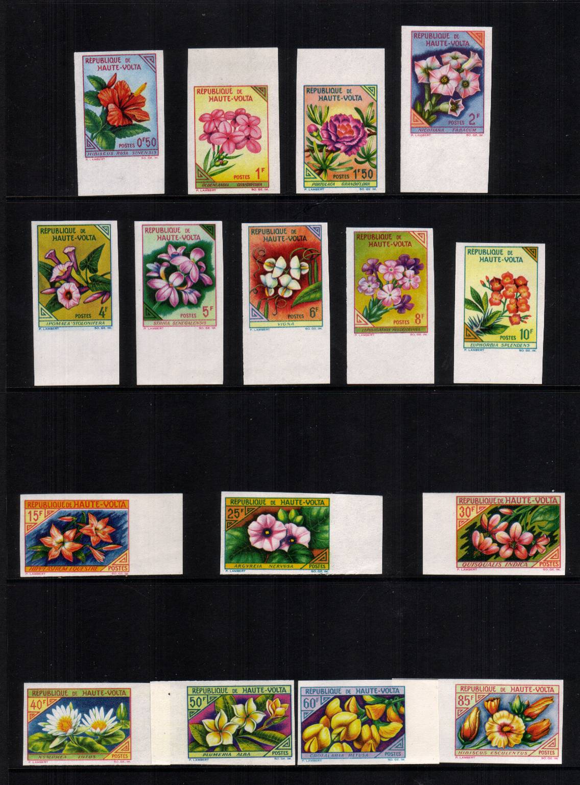 The Flowers set of sixteen IMPERFORATE superb unmounted mint.<br/>Rare and seems to be unlisted.<br/><b>QAQ</b>