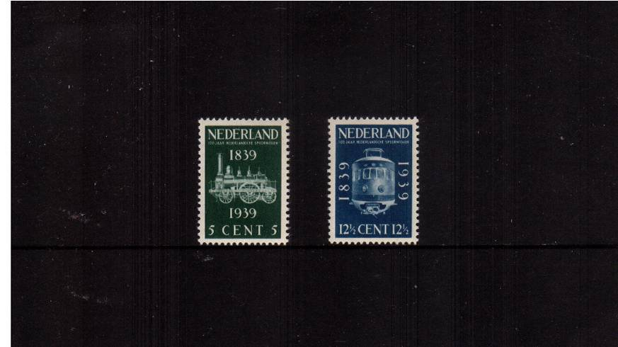 Centenary of Netherlands Railways<br/>A superb unmounted mint set of two