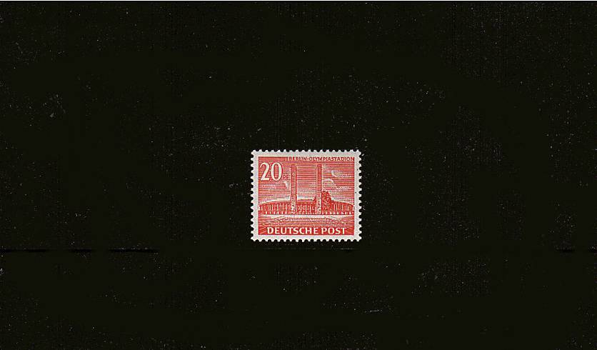 20pf Bright Scarlet - Olympia Stadium<br/>A superb unmounted mint single. SG Cat £85