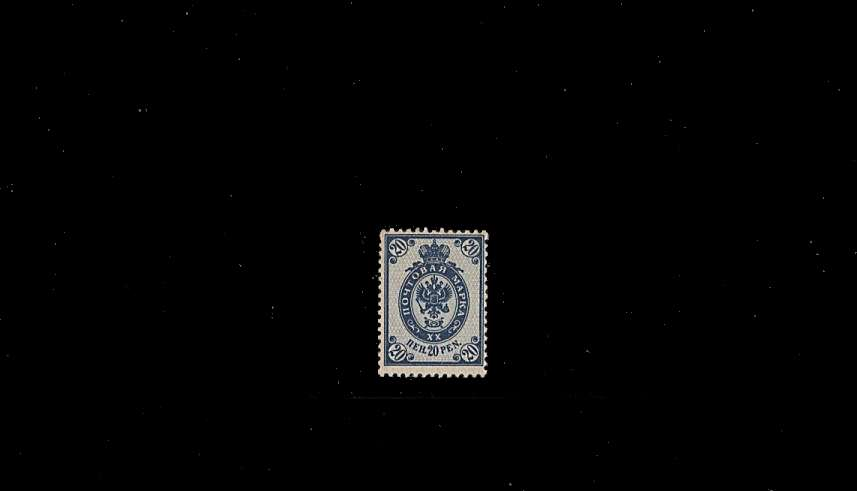 20p Blue - Russian Type - Perforation 14x14½ - Ordinary Paper<br/>