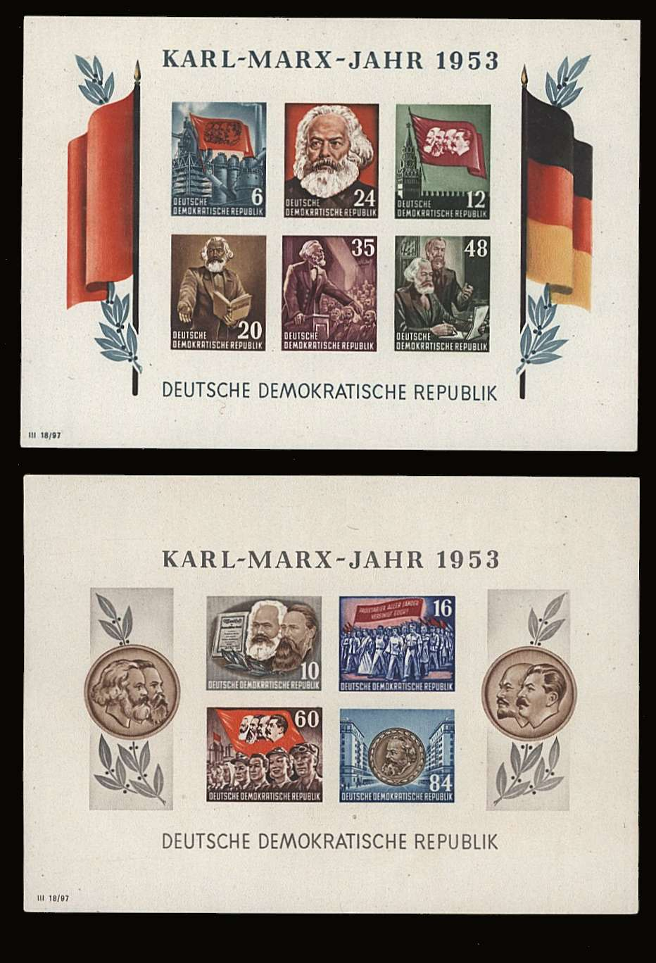 The Karl Marx pair of IMPERFORATE minisheets superb unmounted mint.<br/>SG Cat £250