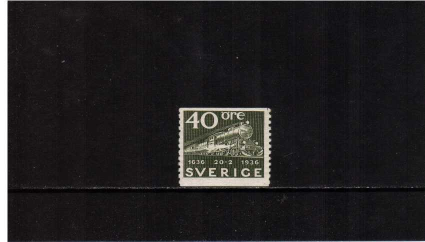 Tercentenary of Swedish Post 40o Deep Olive showing Steam Locomotive and mail train superb unmounted mint.