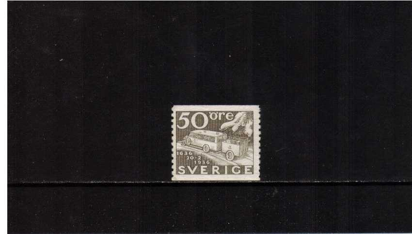 Tercentenary of Swedish Post 50o Drab showing Motor Bus and Trailer superb unmounted mint.