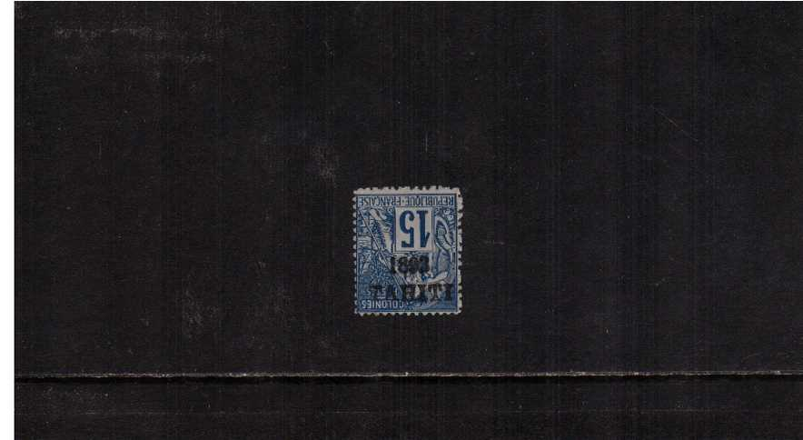 15c Blue a very fresh stamp unused stamp with no gum showing the INVERTED overprint variety. SG Cat �0. A rare stamp!