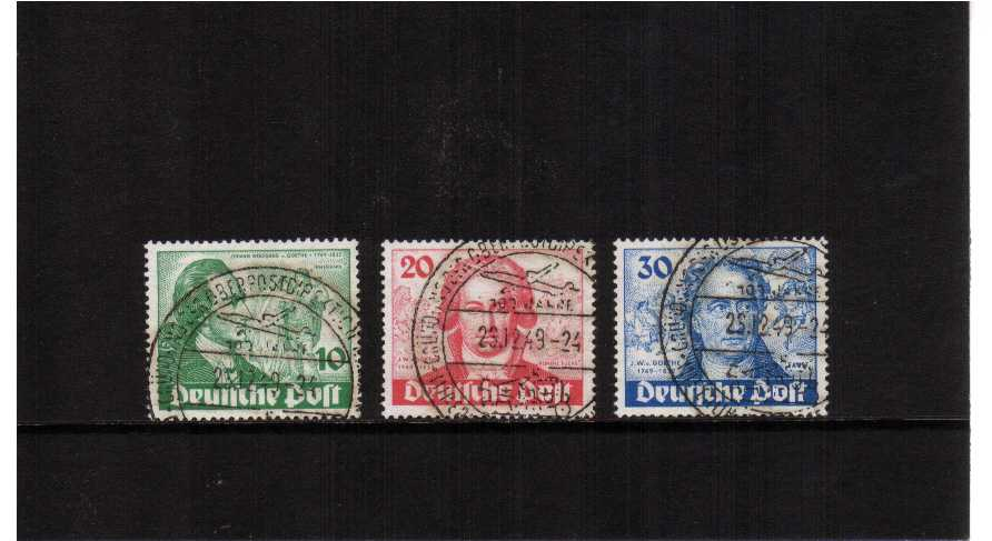 Birth Bicentenary of Goethe (poet) set of three superb fine used with matching commemorative cancels SG Cat �9