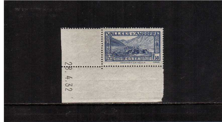 1.50F Royal Blue. A superb unmounted mint sheet corner single also showing printing date.