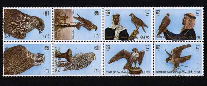 Birds - Falconary block of eight superb unmounted mint.