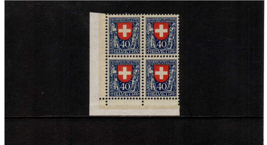 Pro Juventute top value from the 1923 set in a superb unmounted mint SW corner block of 4. Very pretty!
