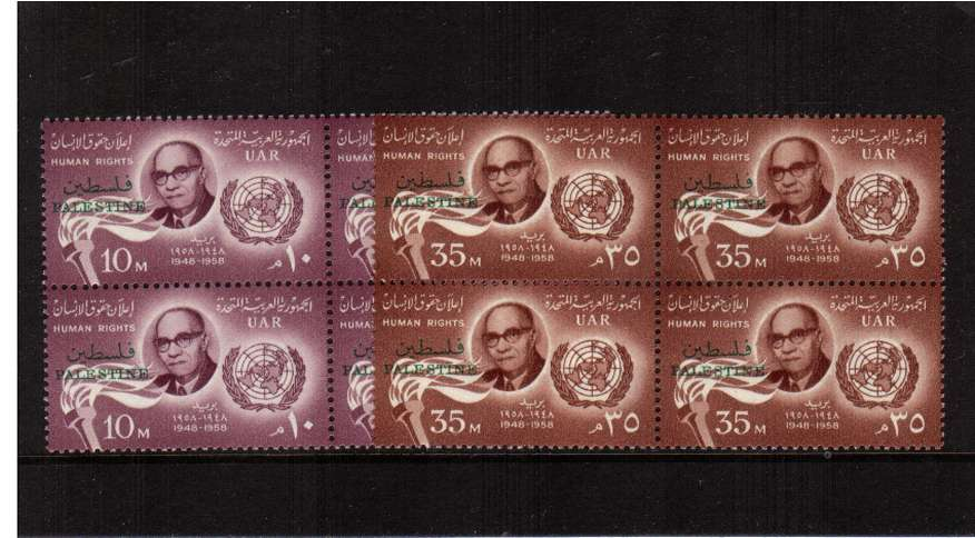 Declaration of Human Rights set of two in superb unmounted mint blocks of four.