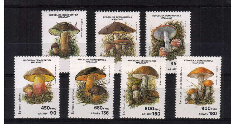 Fungi - Mushrooms set of seven superb unmounted mint. <br/>SG Cat �50