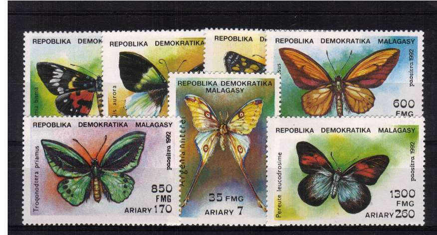 Butterflies set of seven superb unmounted mint. <br/>SG Cat �00
