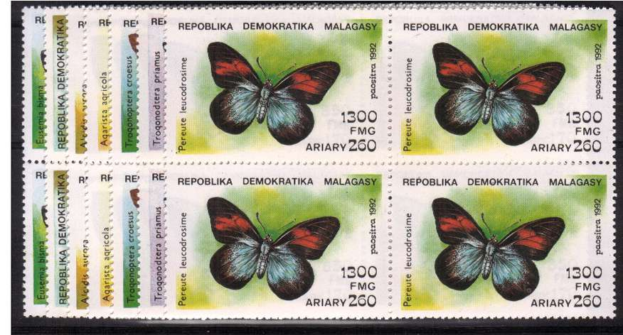 Butterflies set of seven in superb unmounted mint blocks of four. <br/>SG Cat �.00