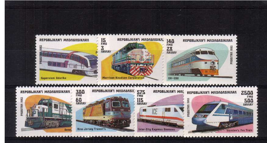 Locomotives - Trains set of seven superb unmounted mint. <br/>SG Cat �85