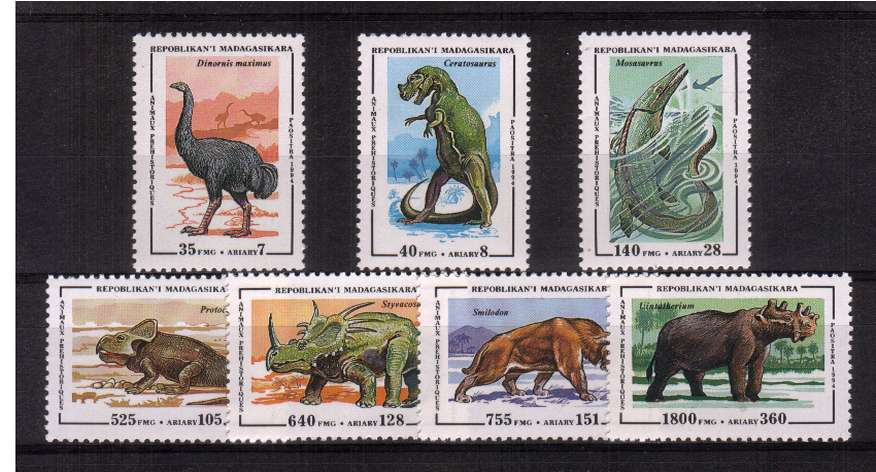 Dinosaurs - Prehistoric Animals set of seven superb unmounted mint.