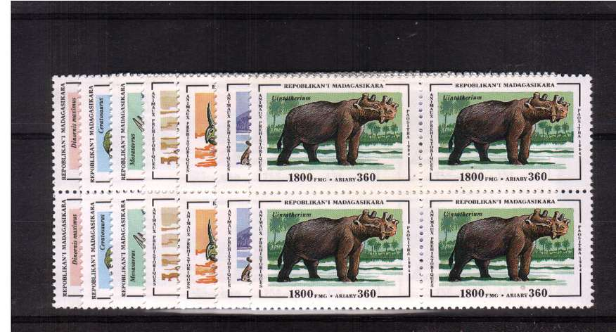 Dinosaurs - Prehistoric Animals set of seven in  superb unmounted mint blocks of four.