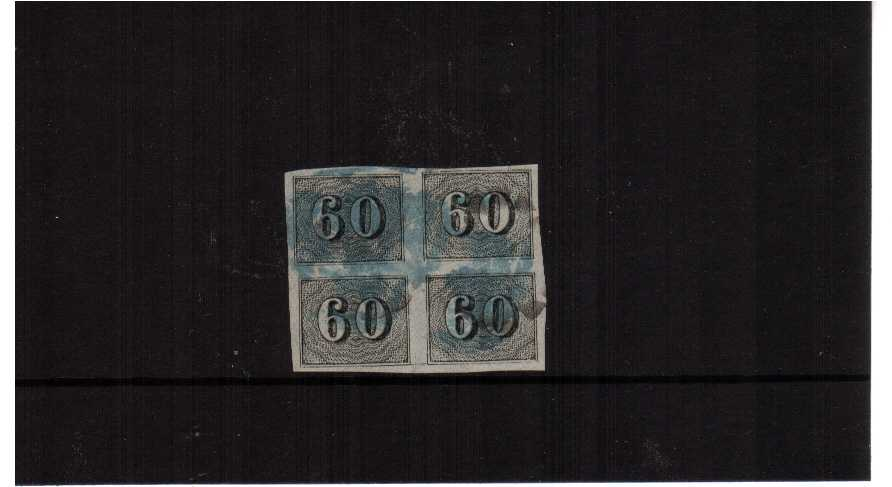 60r black imperforate in a fine block of four. Pretty!