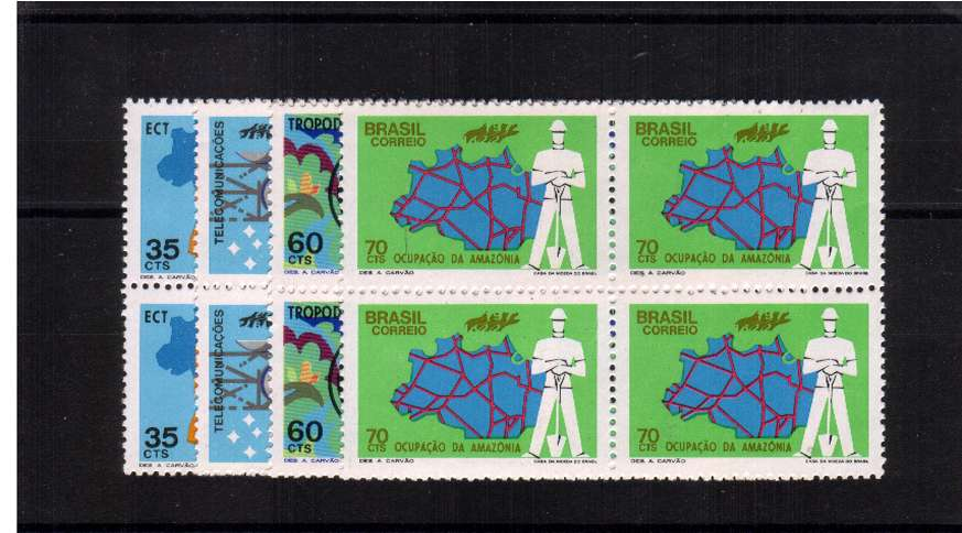 Communications set of four in superb unmounted mint blocks of four. SG Cat �.00