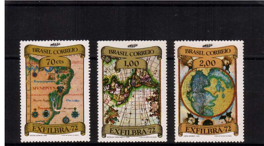 揈XFILBRA 72� 4th International Stamp Exhibition, Rio de Janeiro set of three superb unmounted mint. SG Cat 25.00