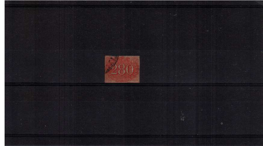 280r Vermilion on Yellowish paper. A fine used stamp with four close margins. SG Cat �0