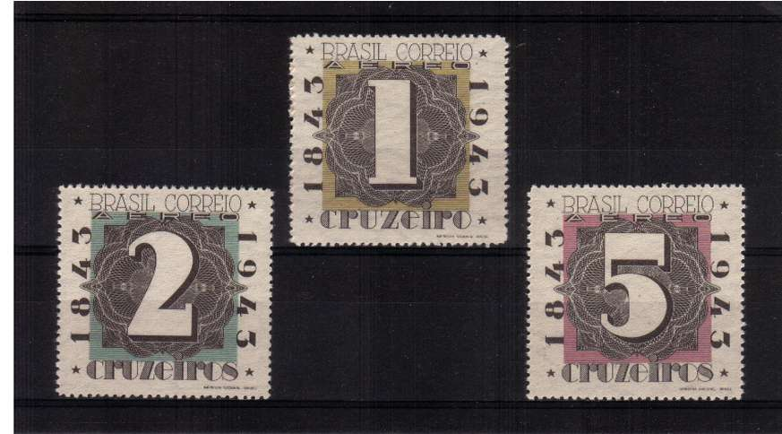 Brazilian Stamp Centenary set of three superb unmounted mint.