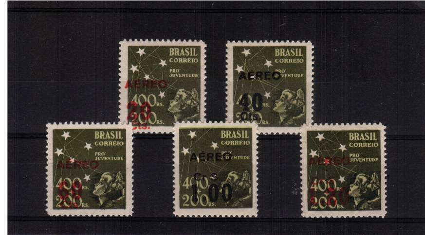 AIR Overprint set of five superb unmounted mint. SG Cat �
