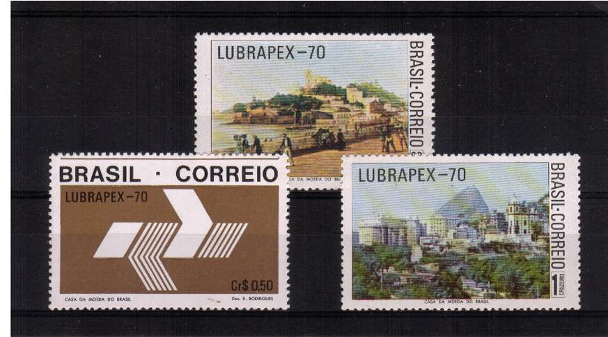 3rd Brazilian朠ortuguese Stamp Exhibition 揕ubrapex 70� set of three superb unmounted mint. SG Cat �.00