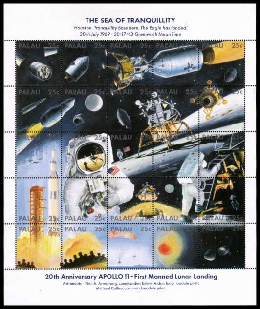 20th Anniversary of First Manned Landing on the Moon sheetlet of twentyfive superb unmounted mint.