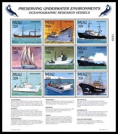 Preserving Underwater Enviroments - Ships sheetlet of nine superb unmounted mint