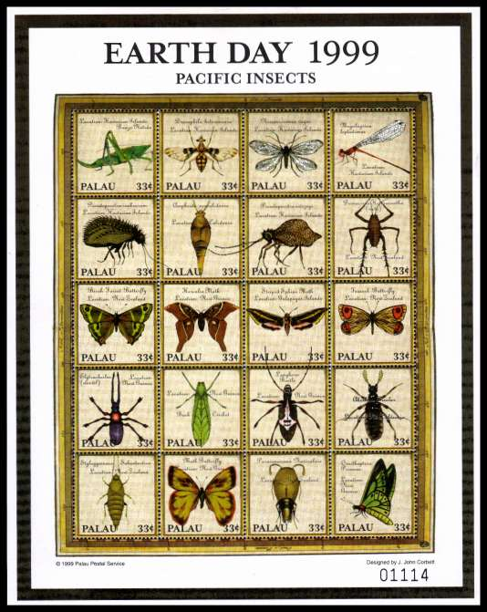 Earth Day - Pacific Insects sheetlet of twenty superb unmounted mint