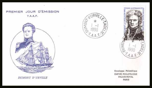 Dumont D'Urville First Day Cover cancelled with two crisp strikes dated 1 - 1 - 1990