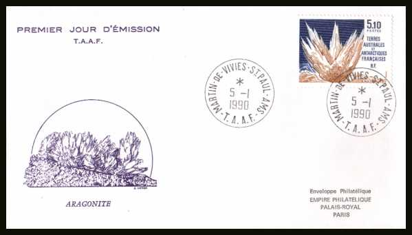 Aragonite Mineral single First Day Cover cancelled with two crisp strikes dated 5 - 1 - 1990