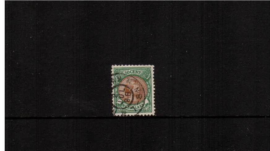 50c Brown and Yellow- Green - Perforation 11<br/>A superb fine used stamp cancelled with a double ring CDS dated 2 JUL 98.<br/>SG Cat �5