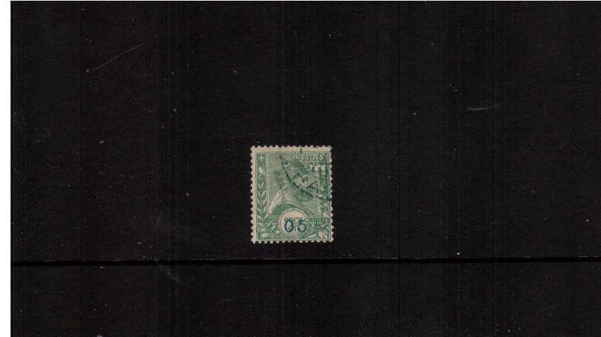 05 overprint in Blue on 糶. Green<br/> A superb fine used.