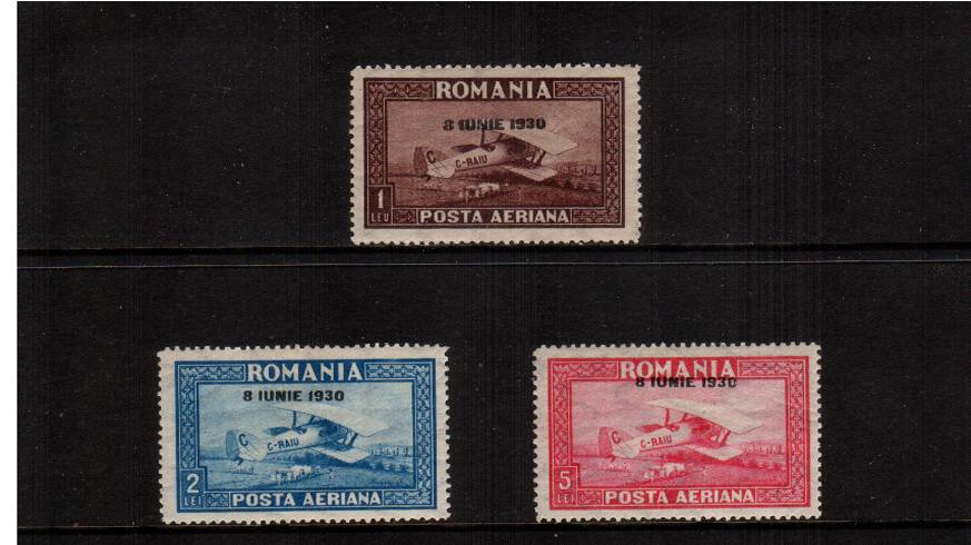 The AIR set of three with 8 IUNIE 1930 overprint with VERTICAL watermark