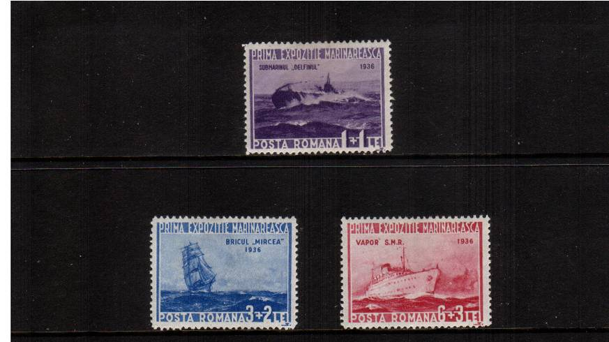 First Marine Exhibition, Bucharest.<br/>A lightly mounted mint set of three