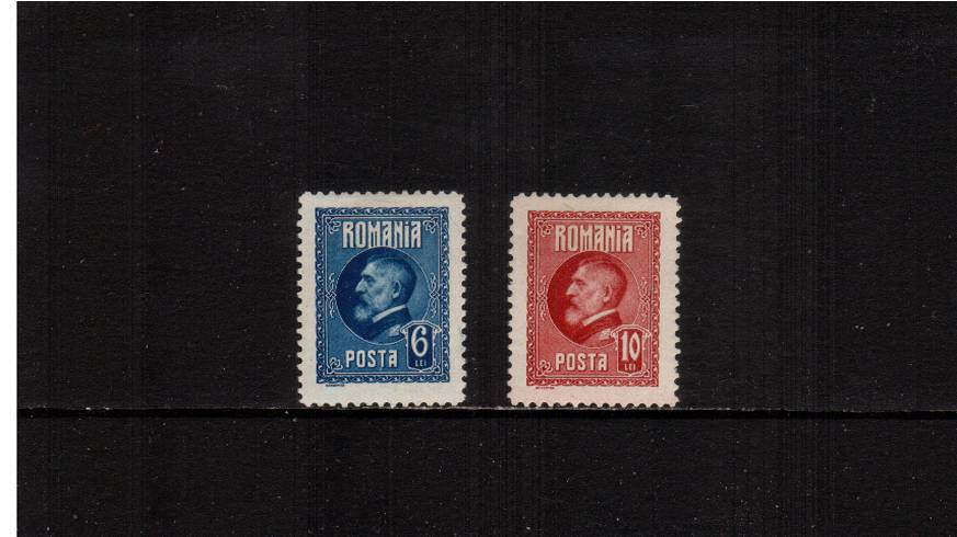 King Ferdinand's 60th Birthday<br/>The ERROR OF COLOUR duo fresh and very lightly mounted mint.<br/>According to the MICHEL catalogue only 100 sets possible. A rare set!