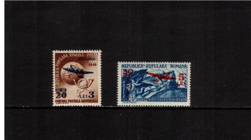 The 1949 Universal Postal Union SURCHARGED set of two.<br/>A superb unmounted mint set of two
