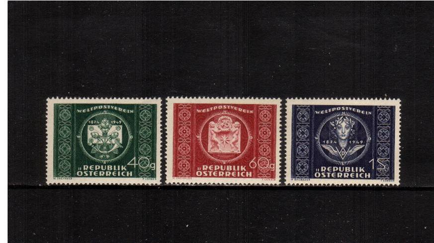 75th Anniversary of U.P.U.<br/>A superb unmounted mint set of three.