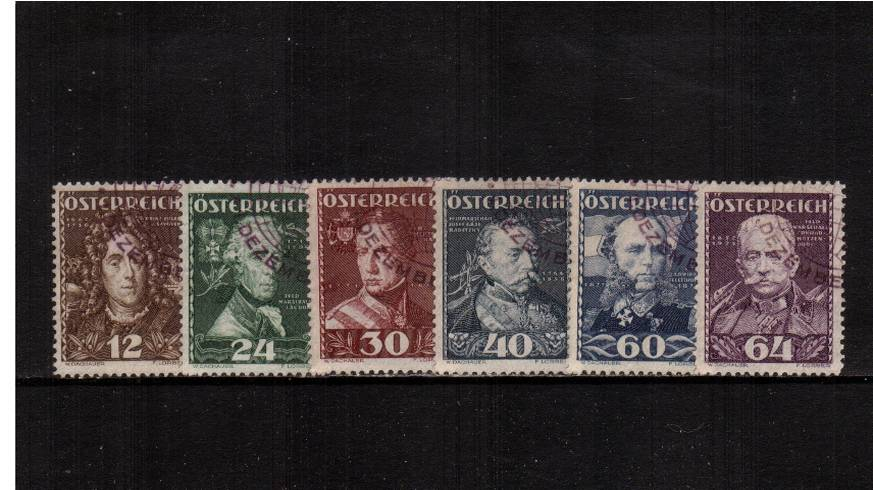 Welfare Funds - Austrian Heroes.<br/>A superb fine used set of six