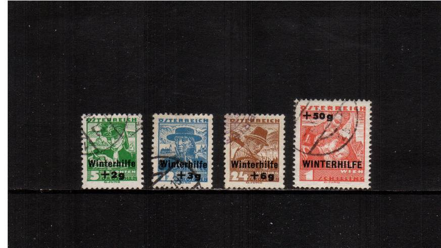 Winter Relief Fund - Surcharged.<br/>A fine used set of four with full perforations.