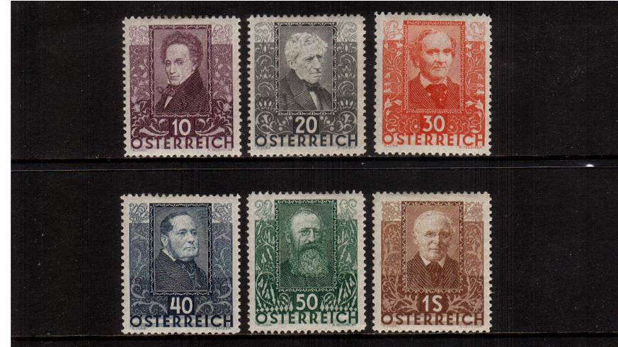 Austrian Writers and Youth Unemployment Fund.<br/>A fine very lightly mounted mint set of six.