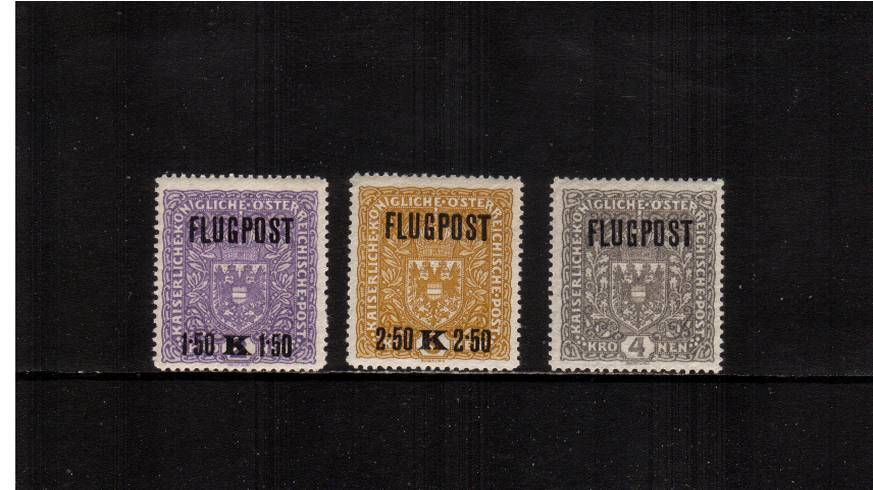 The ''FLUGPOST'' Overprint set of three<br/> fine lightly mounted mint.